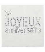 20 Serviettes de table anniversaire Blanc