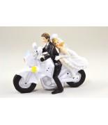 Statue Couple Mariés Moto blanche