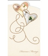 Carte mariage coeurs or