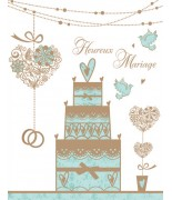 Carte mariage pièce montée