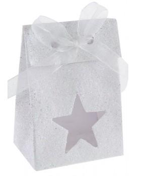 4 Boîtes étoile pailletée blanc