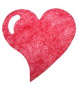 6 Sets de table cœur fanon Rouge
