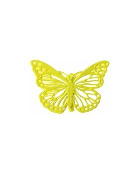 4 Papillons sur pince Jaune