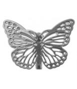 4 Papillons métal sur pince Argent