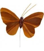 6 Papillons uni sur tige Chocolat