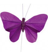 6 Papillons uni sur tige Prune