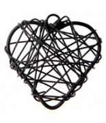 6 Petits cœurs métal Noir