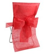 10 Housses de chaise avec noeud Rouge
