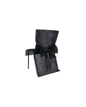 10 Housses de chaise avec noeud Noir