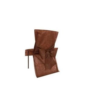 10 Housses de chaise avec noeud Chocolat