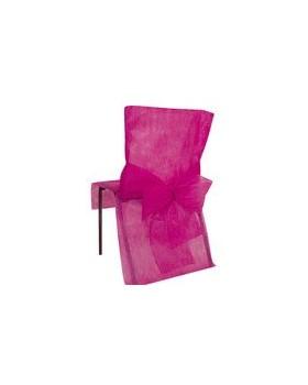 10 Housses de chaise avec noeud Fuchsia