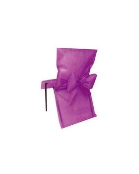 10 Housses de chaise avec noeud Prune