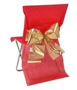 4 Housses de chaise noeud bicolore métalissé Rouge