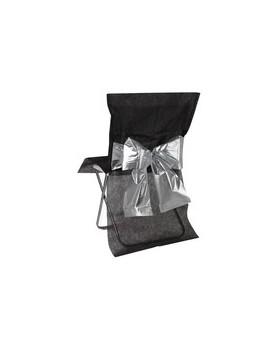 housse de chaise noeud bicolore m tallis noir argent. Black Bedroom Furniture Sets. Home Design Ideas