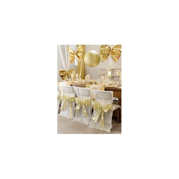 housse de chaise noeud bicolore m tallis ivoire or housse de chaise d co de salle. Black Bedroom Furniture Sets. Home Design Ideas