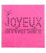 20 Serviettes de table anniversaire Fuchsia