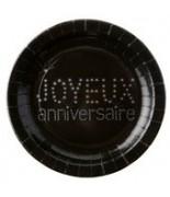 10 Assiettes Anniversaire Noir
