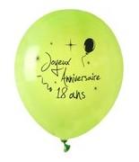 8 Ballons Anniversaire 18 ans Vert