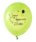 8 Ballons Anniversaire 20 ans Vert