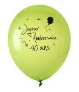 8 Ballons Anniversaire 40 ans Vert