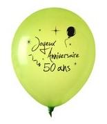 8 Ballons Anniversaire 50 ans Vert