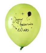 8 Ballons Anniversaire 60 ans Vert