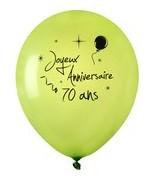 8 Ballons Anniversaire 70 ans Vert