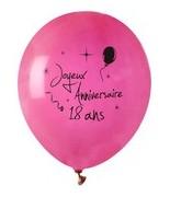 8 Ballons Anniversaire 18 ans Fuchsia