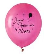 8 Ballons Anniversaire 20 ans Fuchsia