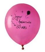 8 Ballons Anniversaire 30 ans Fuchsia