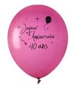 8 Ballons Anniversaire 40 ans Fuchsia