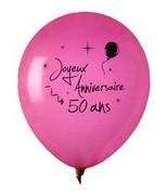 8 Ballons Anniversaire 50 ans Fuchsia