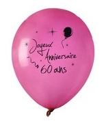 8 Ballons Anniversaire 60 ans Fuchsia
