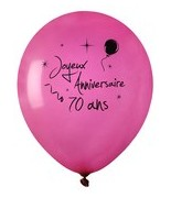 8 Ballons Anniversaire 70 ans Fuchsia