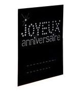 6 Marque-places anniversaire rectangle Noir