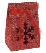 4 Boîtes flocon pailletée Rouge