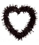 Coeur ouvert en plumes Noir