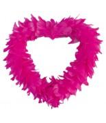 Coeur ouvert en plumes Fuchsia