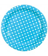 10 Assiettes pois Turquoise