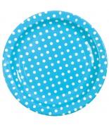 10 Petites assiettes pois Turquoise