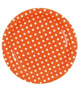 10 Petites assiettes pois Orange