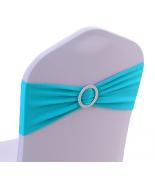 Noeud en Jersey Turquoise avec boucle Argent