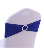 Noeud en Jersey Bleu royal avec boucle Argent