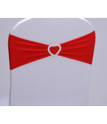 Noeud en Jersey Rouge avec coeur Argent