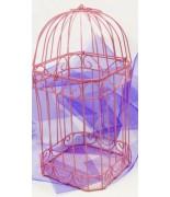 Cage métallique pour carte de voeux Fuchsia